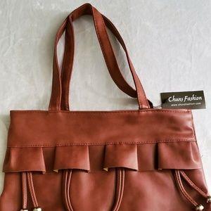 Women Handbag Shoulder Bag Brown Tassel L